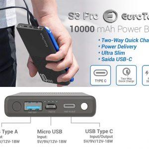 POWER BANK EUROTECH S3 PRO 10000MAH QUICK CHARGE-PD PRETO